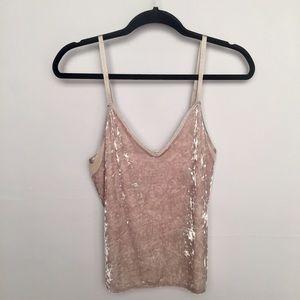 Zara | Crushed Velvet Sheer Panel Cami Tank Top S